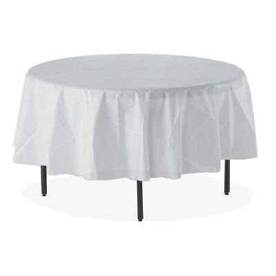 "Tablemate Table Set Round Tablecovers - 84"" - 6/pack - Plastic - White (84WH)"