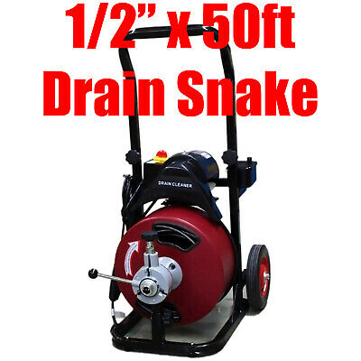 """Commercial 50FT 1/2"""" Electric Drain Auger Sewage Cleaner Machine Snake w/Cutter"""