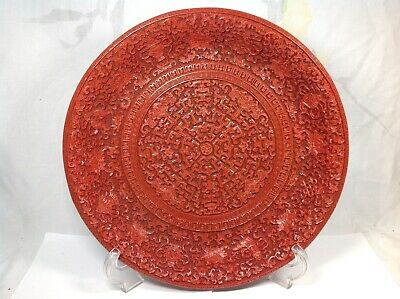Chinese Red Lacquered Carved Buddhist Symbol Plate
