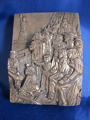 .999 silver plaque HENRYK WINOGRAD - Jewish Immigrants with Statue of Liberty