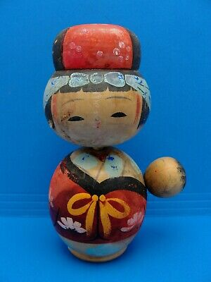 Vintage Japanese Kokeshi Wooden Movable Bobble Lullaby Mother Child Doll