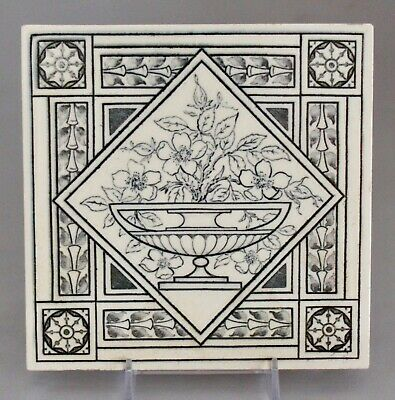 "Antique MINTON  HOLLINS 6"" Tile Victorian Aesthetic Floral Black & White 1880's"