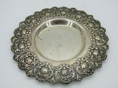 Vintage Sterling Silver Filigree Scroll Repousse Trinket Dish