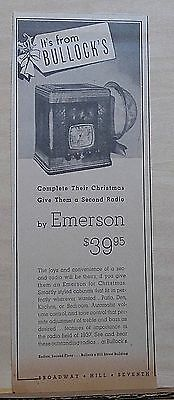 Vintage 1938 newspaper ad for Emerson Radios - Complete Christmas give 2nd radio