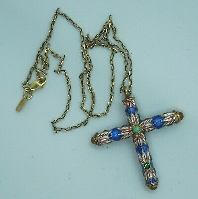 Vintage Sterling Silver Chinese Export Enamel Turquoise Carnelian Cross Necklace