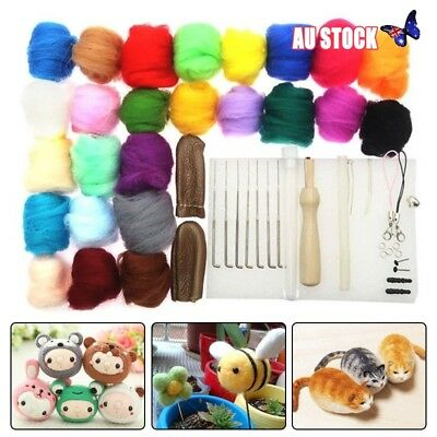 1 Set 25 Colors Wool Felt + Needles Tools Needle Felting Mat Starter Tool Kit AU