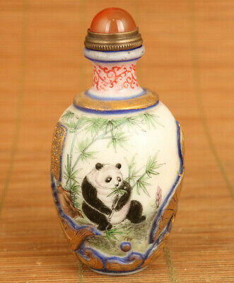 Chinese rare old coloured glaze Handcarved panda Statue Snuff bottle decoration