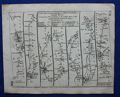 Original antique road map, WORCESTER, SHROPSHIRE, HERTS, SENEX, 1757