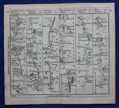 Original antique road map HERTFORDSHIRE, HUNTINGDONSHIRE, OAKHAM, Bowles c.1792