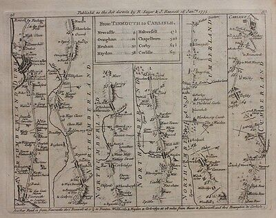 Original antique road map NORTHUMBERLAND, NEWCASTLE, WALES HARLECH Jefferys 1775