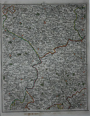 Original antique map LEICESTER, COVENTRY, TOWCESTER, KETTERING, Cary, 1794