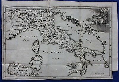 Original antique map ITALY AS DIVIDED INTO REGIONS BY AUGUSTUS, J. Blundell 1748