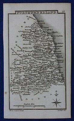Original antique miniature county map NORTHUMBERLAND, Samuel Leigh, 1820-31