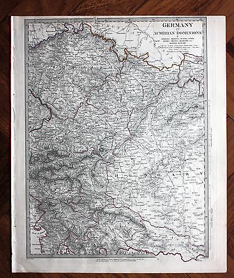 Original antique map SDUK CENTRAL EUROPE GERMANY, AUSTRIA, HUNGARY, BOHEMIA 1845