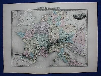 Original antique map EUROPE, EMPIRE OF CHARLEMAGNE, AIX-LA-CHAPELLE, Migeon 1891