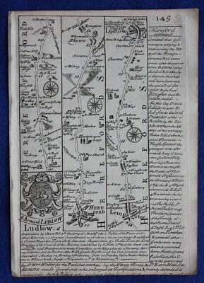 Original antique road map HEREFORDSHIRE, SHROPSHIRE, LUDLOW, E Bowen, c.1724