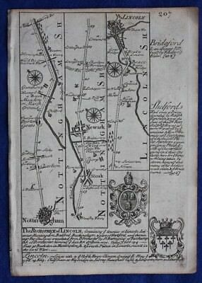 Original antique road map NOTTINGHAMSHIRE, LINCOLNSHIRE, LINCOLN, Bowen, c.1724
