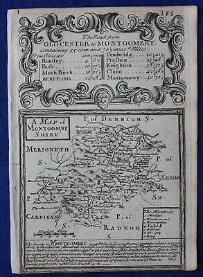 Original antique county map, WALES, MONTGOMERYSHIRE, Emanuel Bowen, c.1724