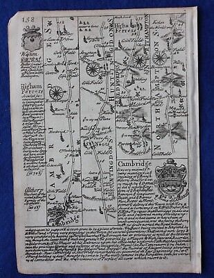 Original antique road map CAMBRIDGESHIRE, HUNTINGDONSHIRE, E. Bowen, c.1724