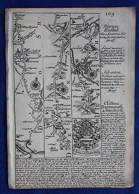 Original antique road map DEVONSHIRE, SOMERSET, DARTMOUTH, E. Bowen, c.1724
