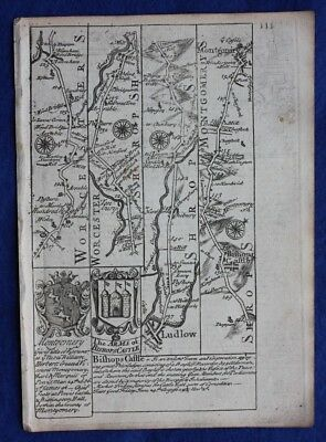 Original antique road map WORCESTERSHIRE, SHROPSHIRE, E. Bowen, c.1724
