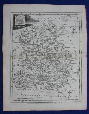 Original antique county map SHROPSHIRE, J.Ellis, c.1765