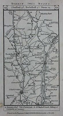 Original antique map STAFFORDSHIRE, ECCLESHALL, CHESHIRE, CHESTER, Paterson 1785