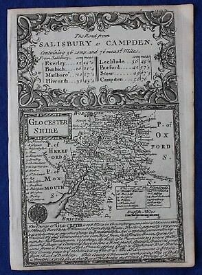 Original antique county map, ENGLAND, GLOUCESTERSHIRE, Emanuel Bowen, c.1724
