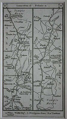 Original antique road map, Cornwall, Launceston, Bodmin, Paterson 1785