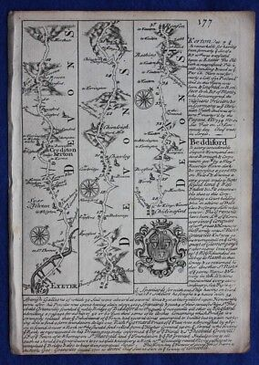 Original antique road map DEVONSHIRE, EXETER, CREDITON, BIDEFORD, Bowen, c.1724