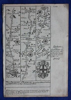 Original antique road map NORFOLK, KINGS LYNN, SUFFOLK, YARMOUTH, Bowen, c.1724