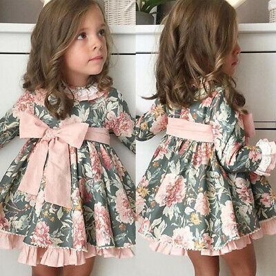 Toddler Baby Kids Girls Flower Tulle Dress Princess Party Dresses Clothes Autumn