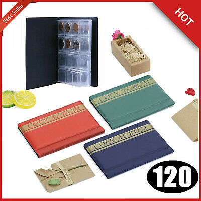120 Album Coin Penny Money Storage Book Holders Case Folder Collection Pocket UK