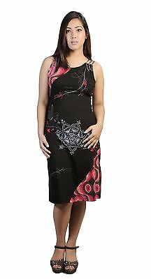 Women's Sleeveless Dress With Embroidery & Colorful Circular Print