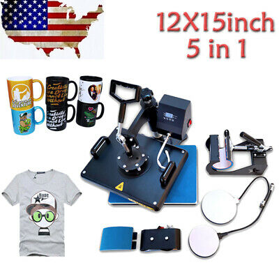 """5 in 1 Combo Heat Press Machine Digital 12x15in"""" for T-shirt Mugs Plate Hats Cup"""