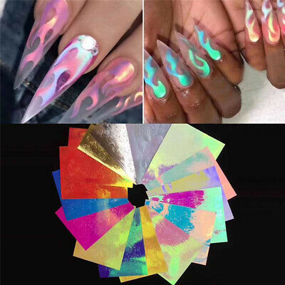 16Pcs Holographic Fire Flame Stencil Hollow Stickers Stencil Sticker Nail Art AU