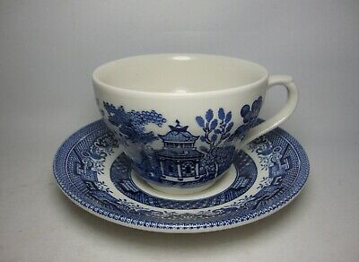 Churchill Blue Willow Tea Cup & Saucer (Bell Shape) New / Unused
