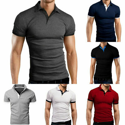Plus Size Mens Polo Shirt Jersey T Shirts Short Sleeve Slim Fit Casual Fashion