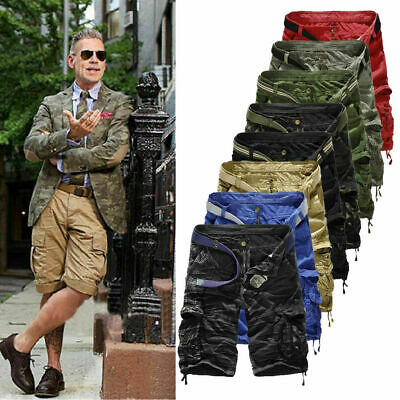 Men's Cargo Army Camo Shorts Combat Summer Pockets Casual Half Pants Trousers