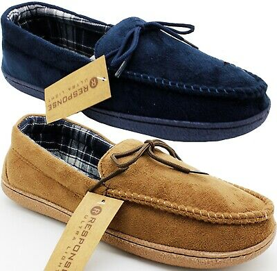 Mens Moccasin Comfort Soft Hard Sole Faux Suede Textile Lined Slippers Shoes Sz