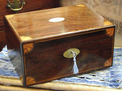 Cute Classical Style Brass And Satinwood Inlaid Writing Slope