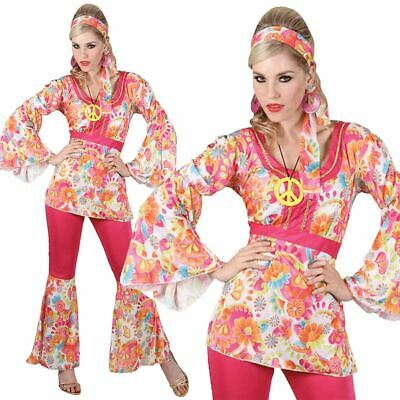 Adults Ladies Flower Hippie Hippy Costume 60s 70s Fancy Dress Flares Outfit