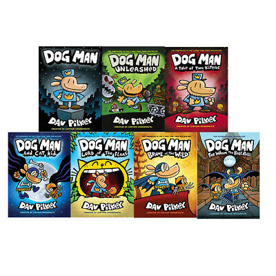 Dav Pilkey Adventures of Dog Man Series 1-7 Books Collection Lord of the Fleas