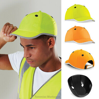 Hi Viz Vis Baseball Safety Bump Cap Hard Hat Orange Yellow Reflective Work PPE