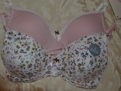 M&S 2 pack Angel Bras non wire gently padded pink mix/cream floral size 30D BNWT