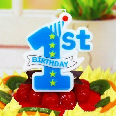 AEX Blue Star 1st Birthday Cake Wax Number Candle Cake Decoration
