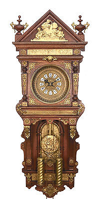 "46"" Highly Brass Decorated Ansonia Antique Hanging 2 Weight Driven Wall Clock"