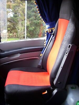 2x Seat Covers for  DAF XF 105 XF 105 CF LF Tailored HGV Truck Lorry Black//Grey