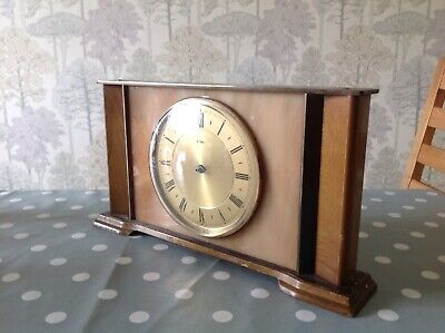 Vintage Metamec Clock Wood Brass Faux Marble 27x15x5cm For Repair Or Spare Parts