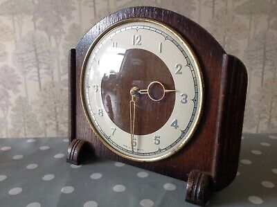 Smiths Mantle Clock 8 Day 4 Jewel Oak Case 27x15x5cm Working And Keeping Time